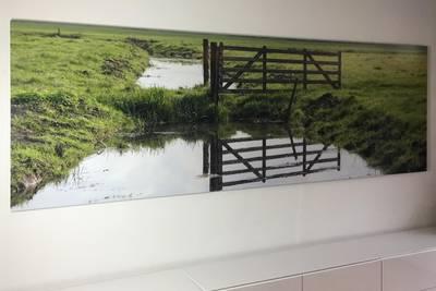 Fotovergroting verlijmd achter acrylaat 15x73 cm
