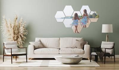 Foto over meerdere hexagons 17x47 cm